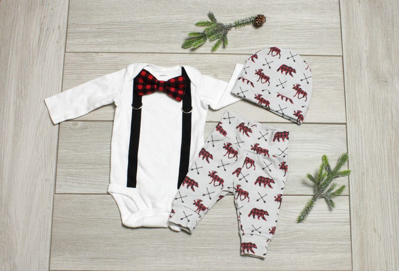 e18b44bc2680 Baby Boy Christmas Outfit Buffalo Plaid Coming Home Outfit