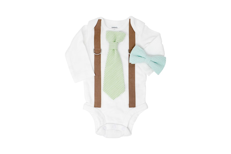 0ea687c2c Baby boy easter picture outfit. MOCHA BROWN / SEERSUCKER Wedding clothes.  Toddler Bow Tie. Tie and suspender bodysuit. Spring. 3m 6m 12m 18m