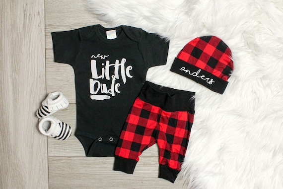 baby shower baby gift Newborn leggings and hat plaid  take home outfit