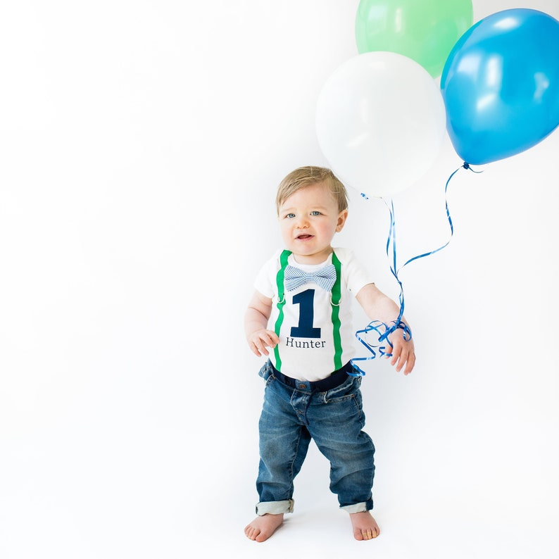 98adfb92f Baby Boy 1st Birthday Outfit in Green & Navy. Cake Smash | Etsy