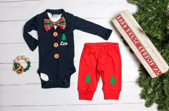 950cb755d5b39 Baby Boy 1st Christmas Outfit. Navy Cardigan Set with Pants. Preppy ...