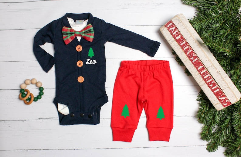 aff1736971a50 Baby Boy 1st Christmas Outfit. Navy Cardigan Set with Pants. | Etsy