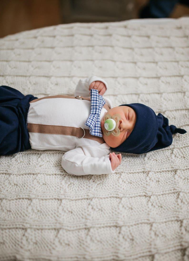96b11677e Newborn Boy hospital outfit. Navy Blue. Mocha Brown. Plaid.   Etsy