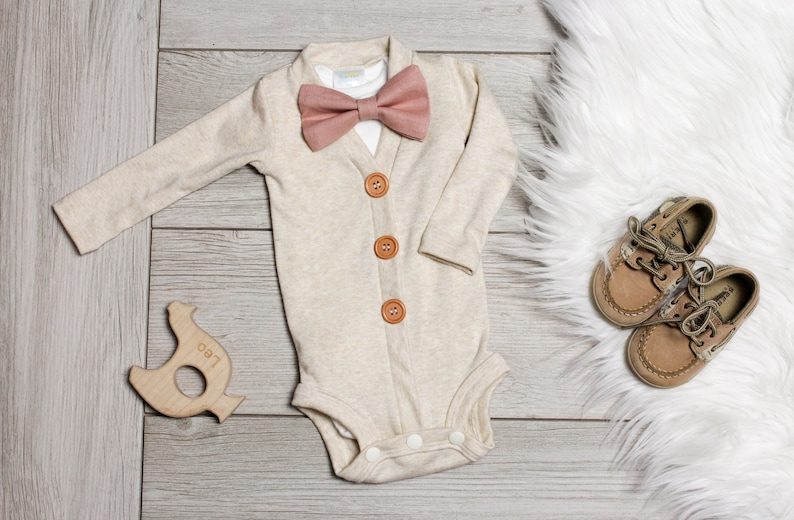 cad6b428a 12m only  Oatmeal Baby Cardigan. Spring baby boy clothes. Newborn boy  easter outfit. bow tie. Cardigan Bodysuit.