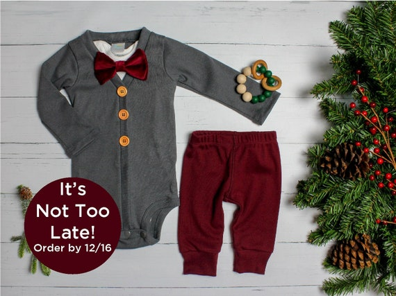 f46896fb4 Baby Boy Christmas Outfit. Dark Gray & Burgundy, Vintage Inspired Cardigan  Set with Pants. Bow tie. 1st Christmas. Newborn. Velvet Classic