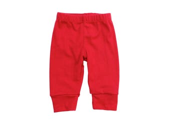 Red Baby Pants. Baby Boy Pants. Knit Leggings. Red Christmas Valentines Baby Clothes.  Baby Girl red pants.