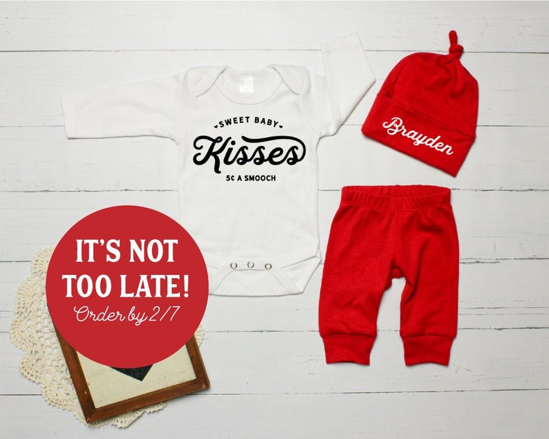 584e809fa Newborn Boy Valentines Outfit. Kissing Booth Coming Home   Etsy