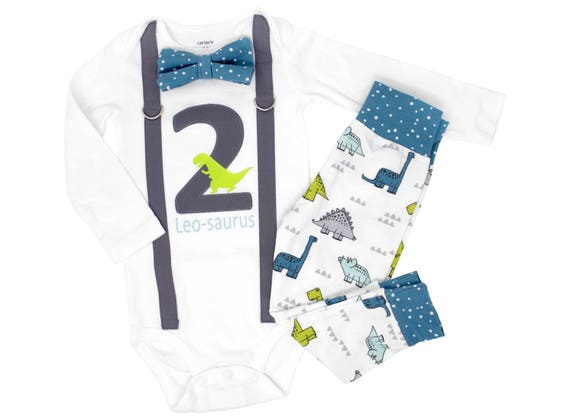Dinosaur 2nd Birthday Shirt 2 Year Old Outfit Modern