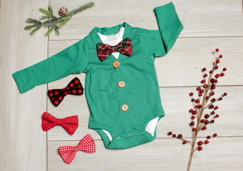 c45974eda496 Baby Boy Christmas Outfit. Christmas Baby Bow Tie Cardigan.