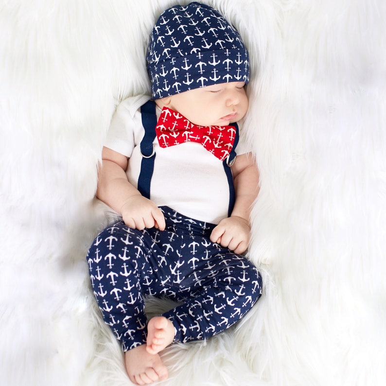 59cc189278e0 Anchor Newborn Boy Coming Home Outfit. Nautical going home