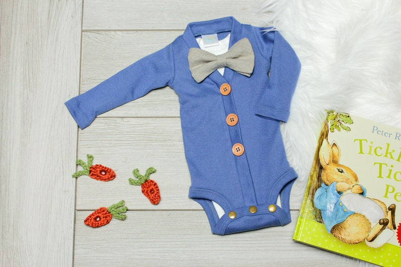 b0bba6715 Baby Boy Easter Bunny Outfit. Blue Baby Cardigan. 1st Easter   Etsy