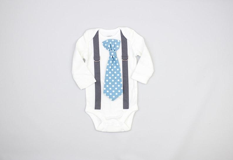 55ebcd4957e9 DARK GRAY Suspenders / BLUE tie. Baby Boy Dress Clothes. | Etsy