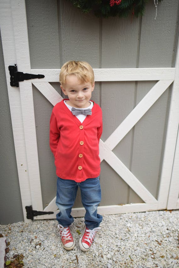 Sale Boys Christmas Sweater 2t 3t 4t 5t Red Cardigan Boys Etsy