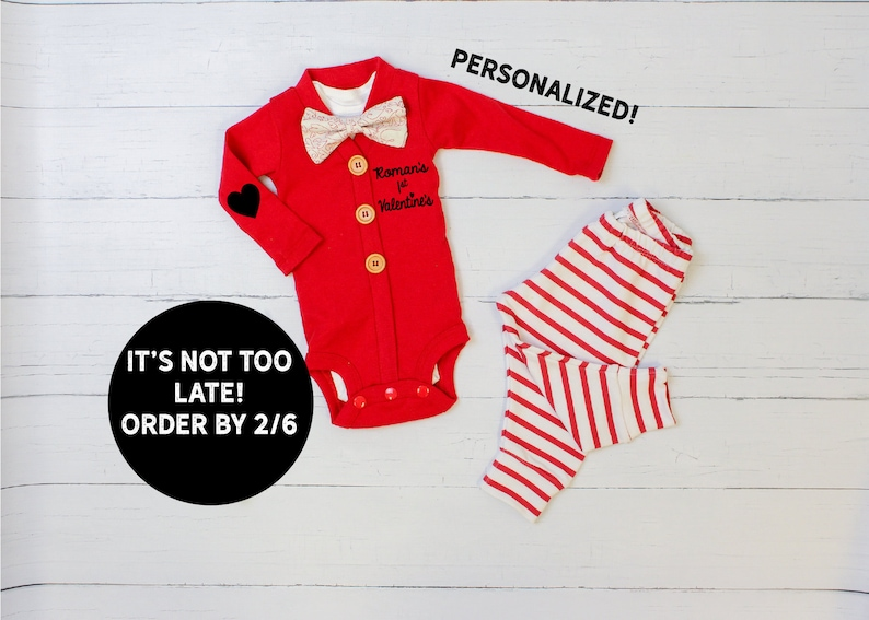 416e34f49 First Valentines Day Outfit Boy. Red Cardigan Set with Pants.