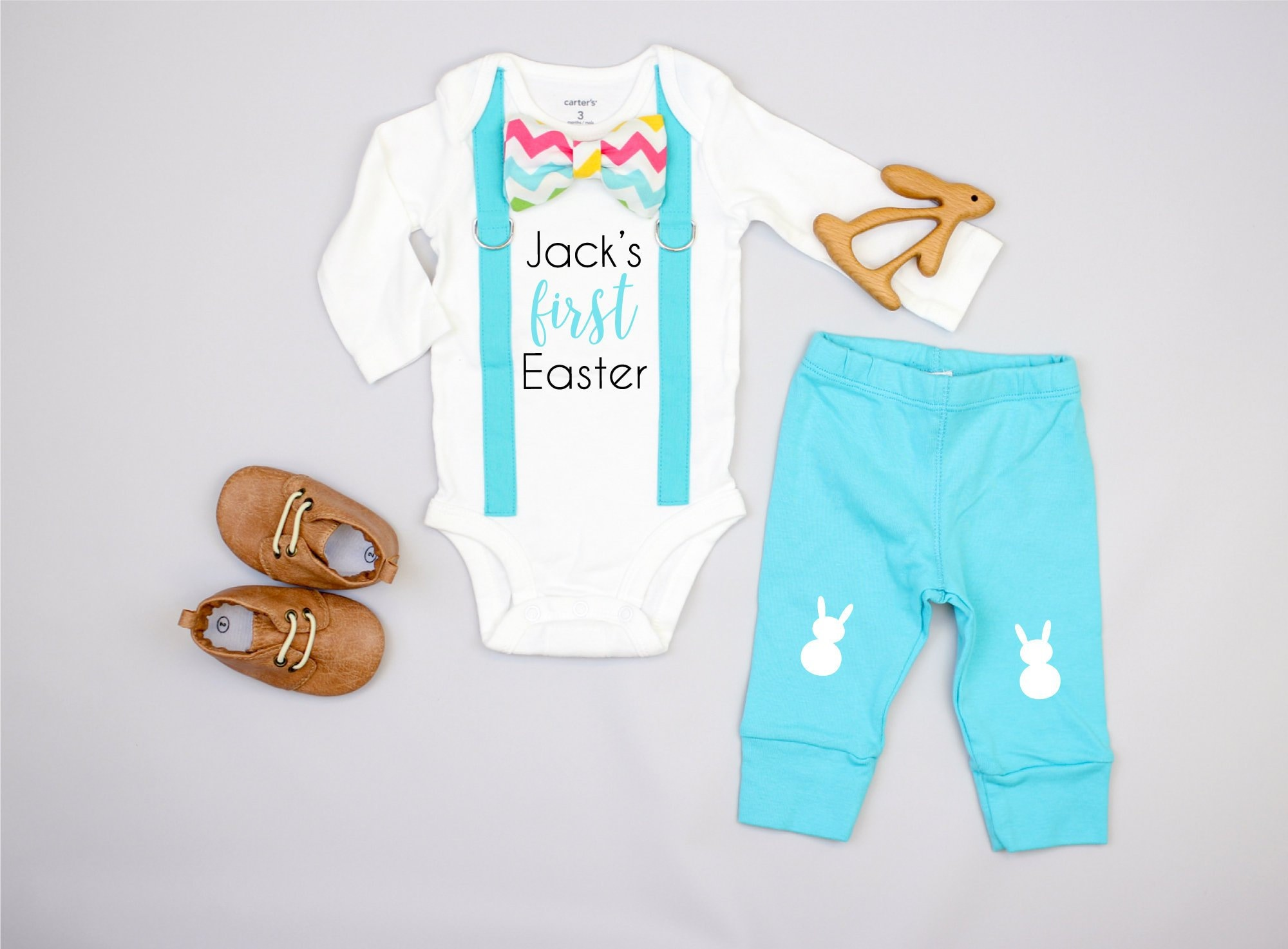 add10427cb59 Personalized 1st Easter Outfit for baby boy. Newborn boy