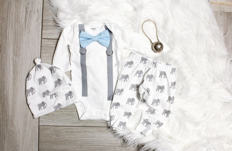 878b523a6 Baby Boy Elephant Coming Home Outfit. Blue Bow tie and Gray   Etsy