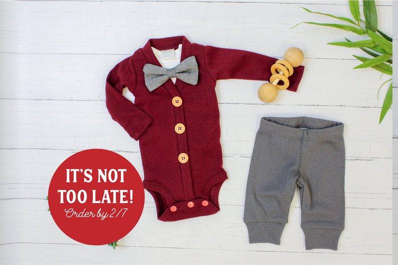 ad7e430935 Baby Boy Valentine s Day Outfit. Dark Gray   Burgundy
