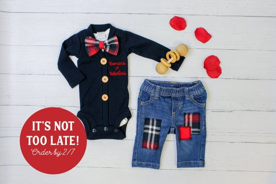 5a56c76de Baby Boy 1st Valentine's Day Outfit, Personalized Navy Cardigan and Jeans.  Newborn Boy. First Valentine. Name. Plaid Bow Tie.