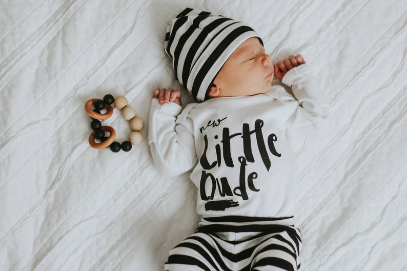 b2db0dc7a2b3 Black and White Stripe Coming Home Outfit Baby Boy Leggings