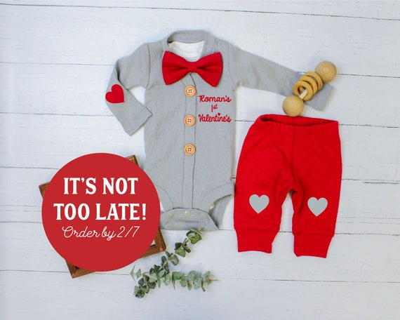 e2980d4ea Baby Boy 1st Valentines Day Outfit. Gray Cardigan Set with