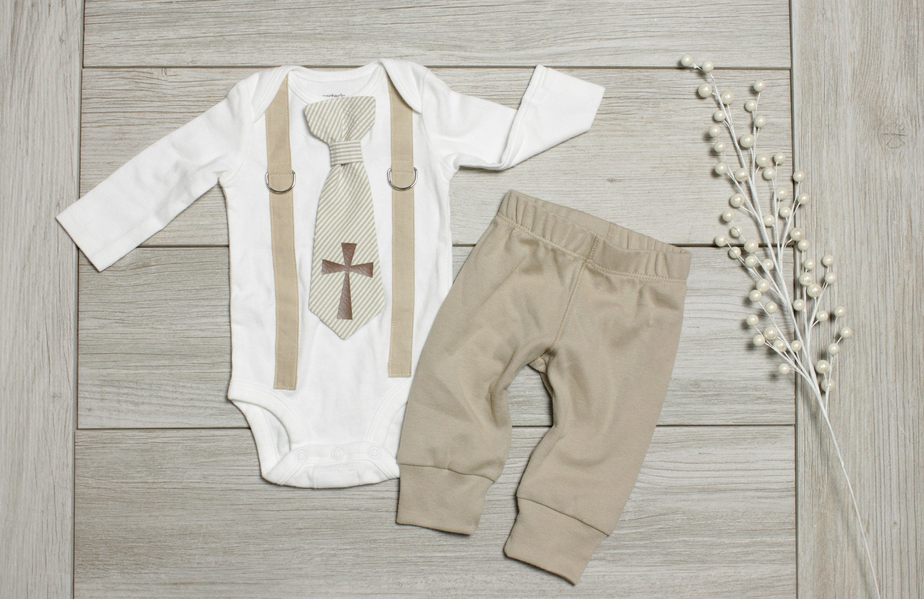 Tan Baptism Outfit Boy. Baby Boy Outfit. Khaki Brown. Baptism | Etsy
