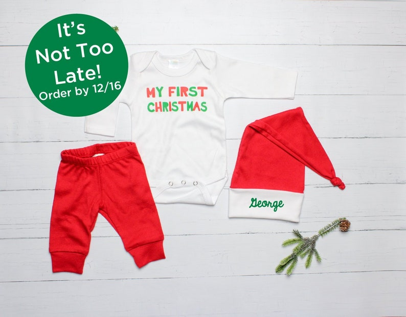 11b02e7e1 Baby Boys First Christmas Outfit Personalized Baby Santa Hat
