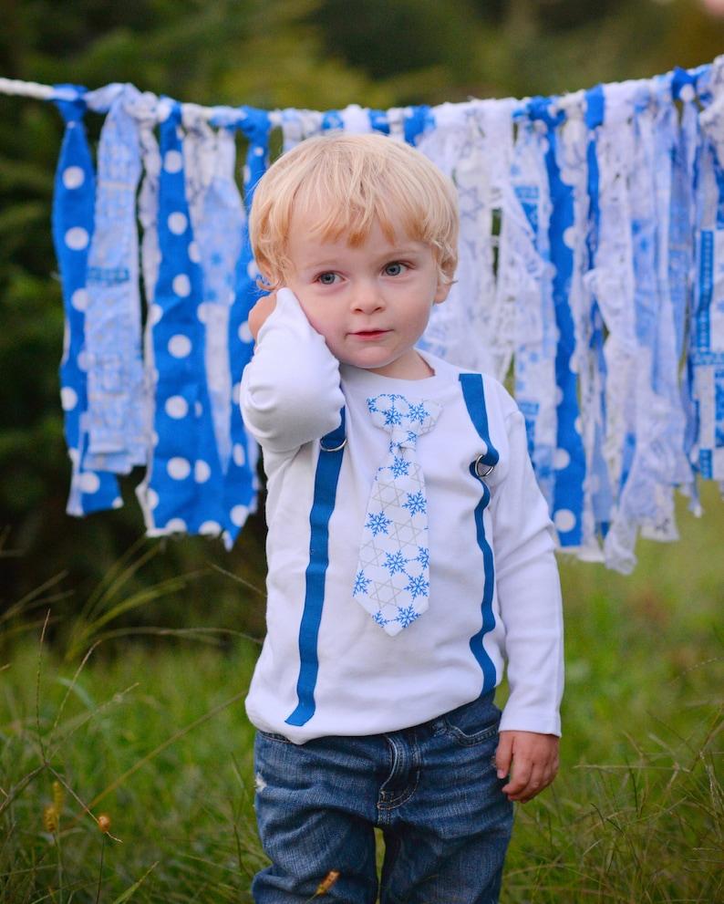Toddler Boys Hannukah Shirt. Dreidel. Tie and Suspenders image 0