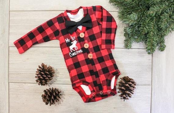 image 0 - Buffalo Plaid Cardigan. Baby Boy Christmas Outfit. Buffalo Etsy