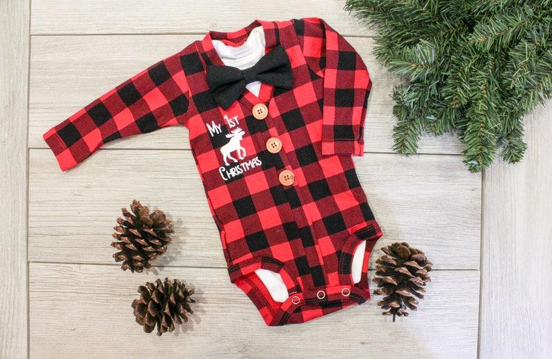 57993a6229b45 Buffalo Plaid Cardigan. Baby Boy Christmas Outfit. Buffalo Plaid Baby  Outfit. Newborn Boy. Baby Lumberjack. 1st First Christmas. Moose.