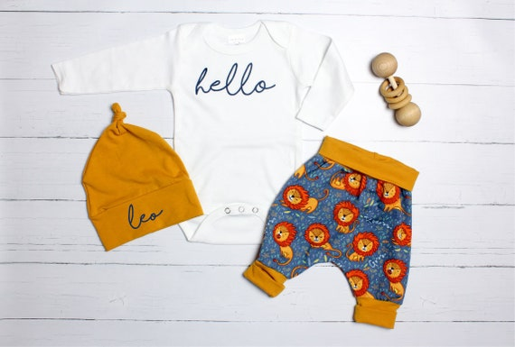 a066937b1d998 Baby Boy Coming Home Outfit Lion. Newborn Hello Bodysuit. Mustard ...
