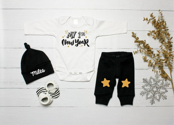 9b50f40e78de6 Baby Boy 1st New Year Outfit. New Years Eve Clothes. 2018 First New Year.  Black and Gold. Baby New Year. Newborn.