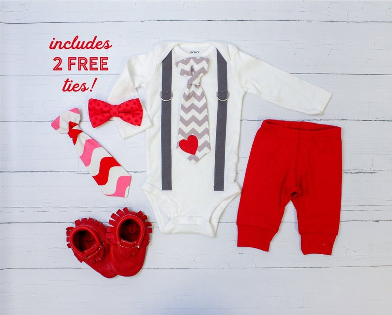 2eafd1682044 Valentine s Day Outfit Baby Boy. Tie   Suspenders
