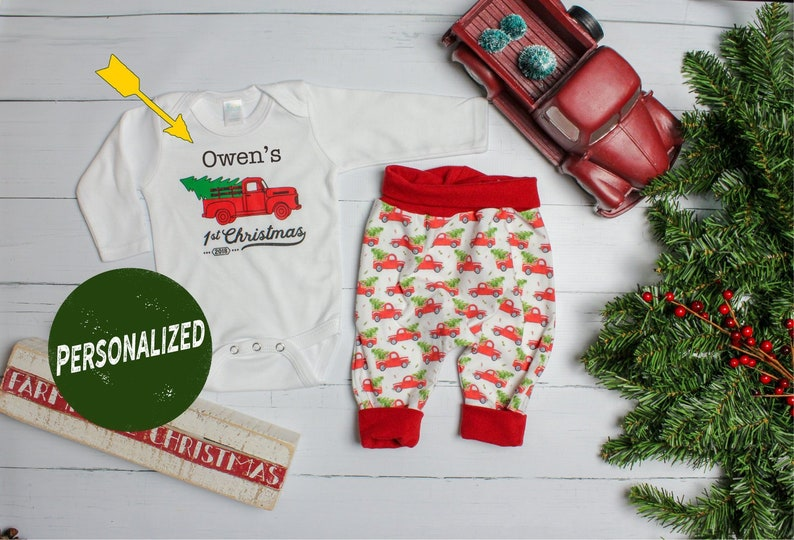 ec64be4d0 Baby Boy 1st Christmas Truck Personalized Outfit. Truck and