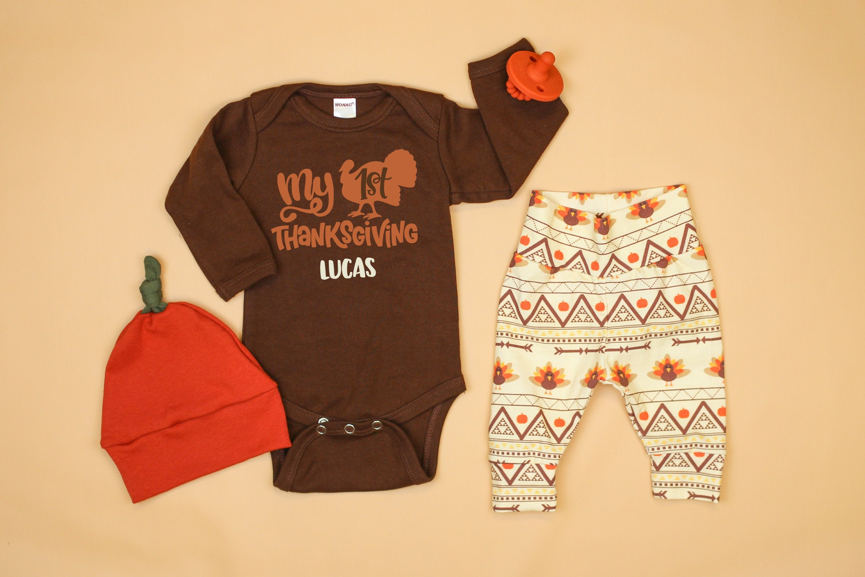 Thanksgiving Outfit Newborn Baby Boy Girl Gobble Til You Wobble Letter Print Romper Clothes Set