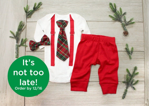 Baby Boy 1st Christmas Outfit Baby Boy Tie And Suspenders Etsy