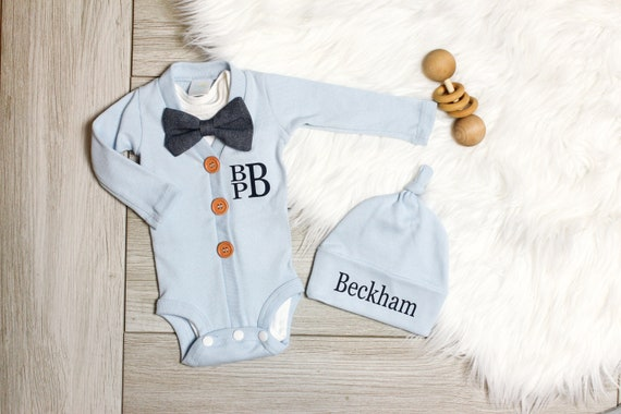 0935123e Newborn Boy Going Home Outfit. Monogrammed Baby Boy Clothes. Coming Home  Outfit. Blue. Name Hat. Personalized. Cardigan.