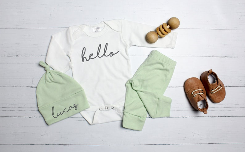75c1a649a Mint Baby Boy Coming Home Outfit. Spring Summer Fall. Newborn