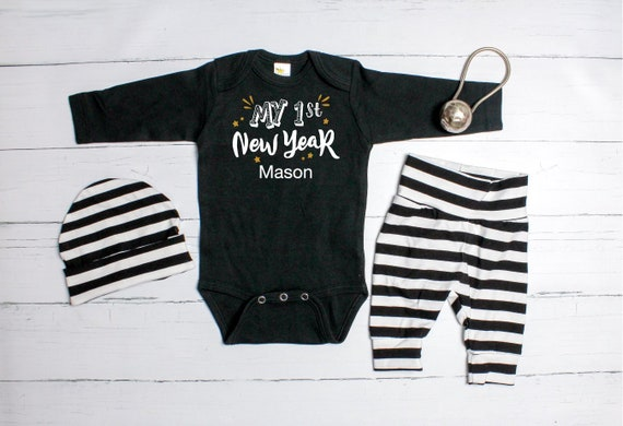 4a4bb7964edd Personalized Baby Boy 1st New Year Outfit. New Years Eve
