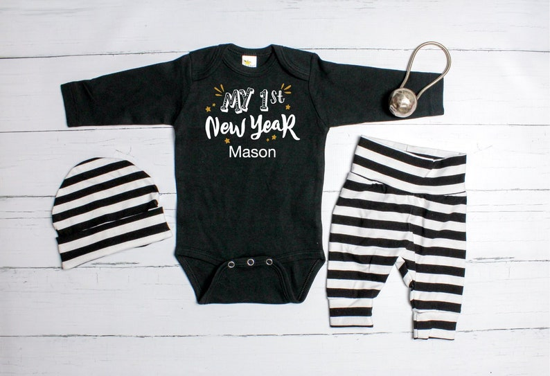 f48be8846e9cd Personalized Baby Boy 1st New Year Outfit. New Years Eve | Etsy