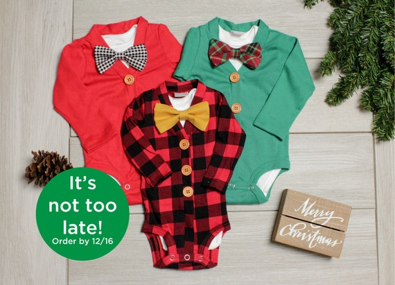 image 0 - Baby Boy Christmas Outfit. Buffalo Plaid Baby Outfit. Red Etsy