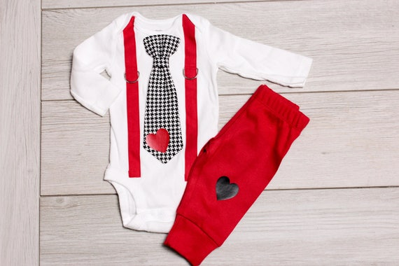 a10ac27960f73 Baby Boy Valentine's Day Outfit WITH pants. For Baby Boy, Newborn Boy, Toddler  boy. Perfect for First Valentine's Day. Pictures outfit.