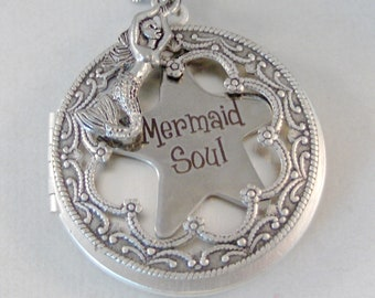 Mermaid Soul,Mermaid Necklace,Mermaid Jewelry,Mermaid pendant,Ocean Necklace,Nautical Neckalce,Mermaid Locket,Siren Necklace,valleygirdesign