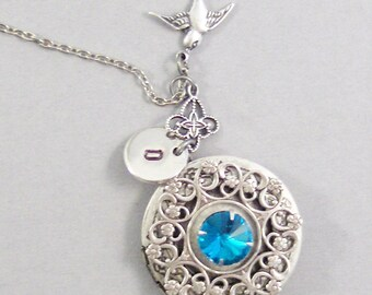 Victorian Sparrow,Sparrow Necklace,Blue Topaz Necklace,Blue Topaz Locket,Blue Topaz Jewelry,Topaz Handmade,Initial Hand Stamp,Personalized