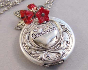 Grandmother's Locket,Grandma,Grandmad Necklace,Grandma,Grandmother Necklace,GrandmaMother,Necklace,Antique Locket,Necklace.valleygirldesigns