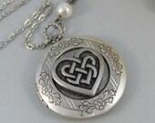 Celtic Heart,Locket,Silver Locket,Celtic Locket,Heart, Antique Locket,Celtic Knot,Irish,Lucky,Shamrock. jewelry by valleygirldesigns