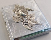 Silver Rose Cigarette Case,Cigarette Case,Rose,Roses,Silver Case,Antiqued Silver Large Card Holder,Gothic,Victorian,Steampunk Accessories