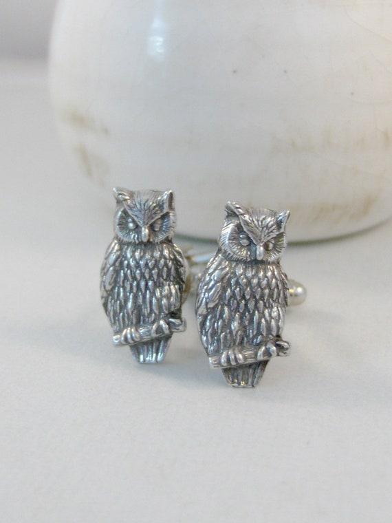 Owl Cufflinks,Owl Jewelry,Silver Owl,Groomsen Gift,Silver Cufflink,Groomsmen,Mens Jewelry,Groom Gift,Mens Cufflink,Owl in handmade,valleygir