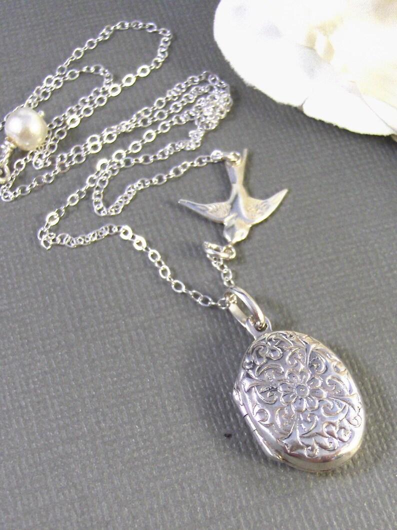 Handmade jewelry by valleygirldesigns. Alouette,Locket,Silver Locket,Sterling Silver Locket,Sterling Silver,Bird,Wedding Jewelry