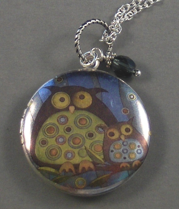 Silver Owl Locket,Mom Locket,Mom In Handmade,Mom Necklace,Owl Necklace,Owl locket Owl photo locket,owl locket art,owl necklace,valleygirl