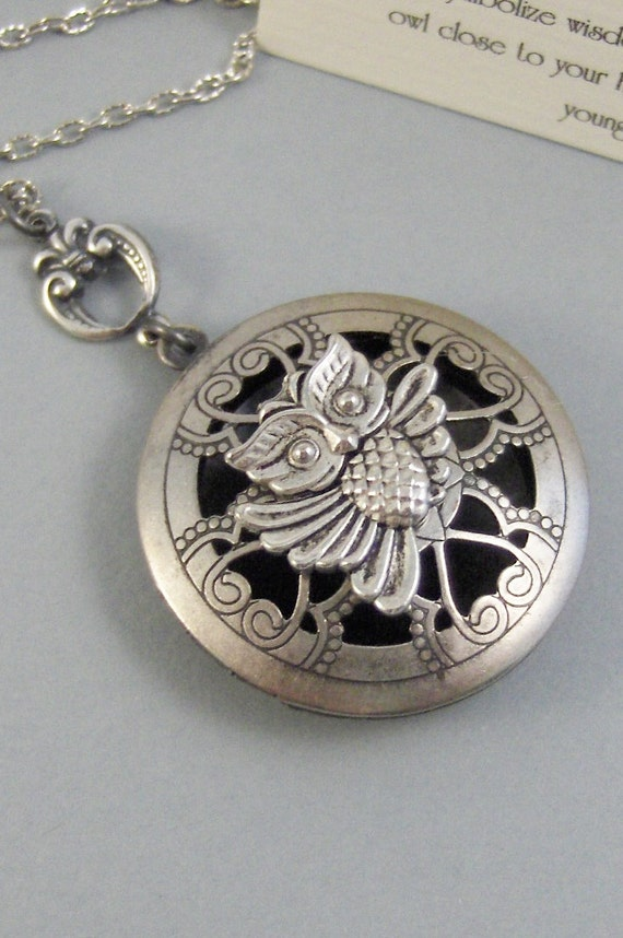 Scented Owl,Locket,Silver,Apothecary,Choose Your Scent,Lavender,Rose, Scent Locket,Scent Locket,Antique Locket,Jewelry, valleygirldesigns.
